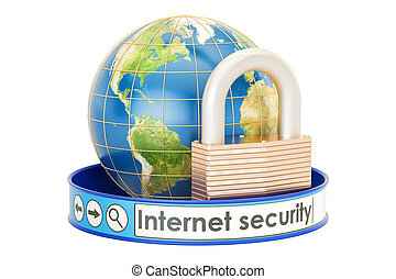 Internet security concept. Earth with padlock, protect concept, 3D rendering