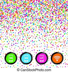 Mobile telecommunications icons. 3G, 4G and LTE. - Web...