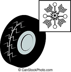 Winter tire with snowflake isolated on white background