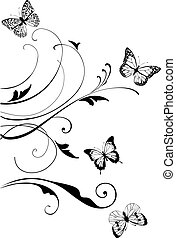 Floral swirls - vector floral swirls with butterflies