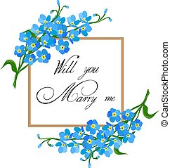 Marry Me Card - vector floral marry me card
