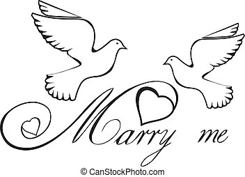 marry me hearts - vector marry me text with doves and hearts