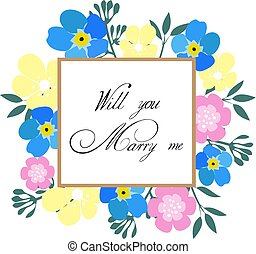 forget me not marry me card - vector forget me not marry me...
