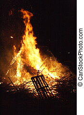 Blazing fire - a blazing fire late at night