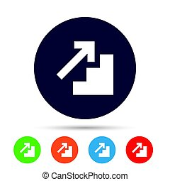 Upstairs icon. Up arrow sign. Round colourful buttons with...