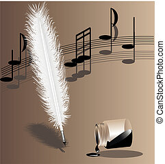biege symphony - on a beige background music writing white...