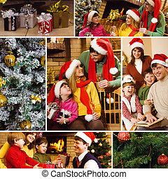 Christmas celebration - Collage of family celebrating...
