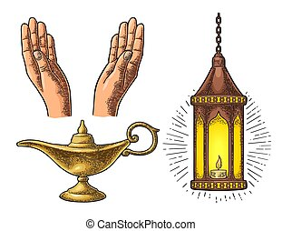 Praying Hands, arabic lamp with chain and Aladdin lamp - Two...
