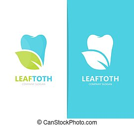 Vector of tooth and leaf logo combination. Dental and eco...