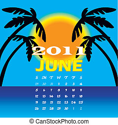 June 2011 - Vector Illustration of 2011 Calendar with a...