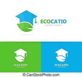 Vector of graduate hat and leaf logo combination. Study and...