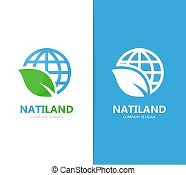 Vector of planet and leaf logo combination. World and eco...