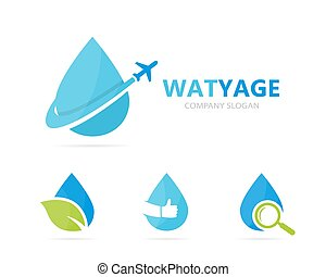 Vector of oil and airplane logo combination. Drop and travel...