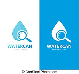 Vector of oil and loupe logo combination. - Vector logo or...