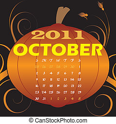 October 2011 - Vector Illustration of 2011 Calendar with a...