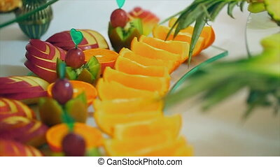 Apples and Orange Fruit - Apples and orange fruit on table