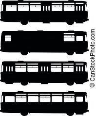 Black silhouettes of old buses