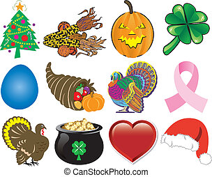 Holiday Icon Set 2 - Vector Illustration Set of 12 Holiday...