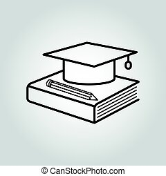 Education icon. Graduation cap, book and pencil symbol....