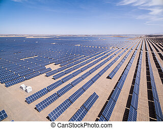 aerial view of solar energy, golmud in qinghai province,...