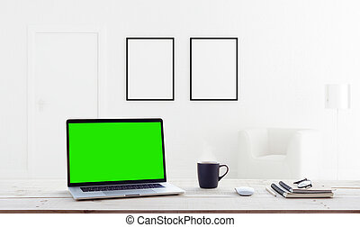 laptop computer showing green screen in home interior...