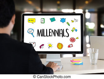 MILLENNIALS CONCEPT Business team hands at work with...