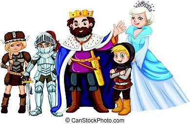 Fairytale characters on white background illustration