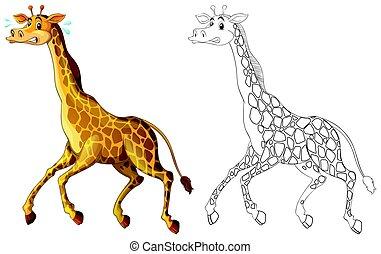 Doodle animal for giraffe running
