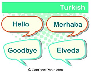 Speech bubbles with Turkish words illustration