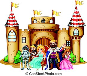 King and queen at the castle illustration