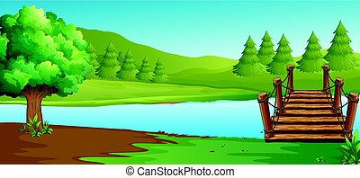 Scene with river and pine trees illustration