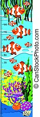 Measuring height scales on paper with clownfish in the sea