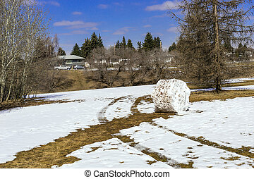 Snowball - Big snowball rolled out after spring snowfall im...