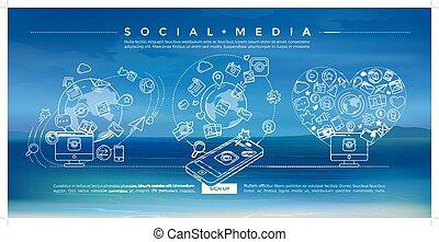 Social Media Blue Linear Illustration - Flat linear...