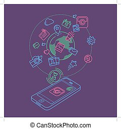 Social Media Colorful Linear Illustration - Flat linear...