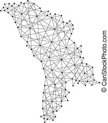 Map of Moldova from polygonal black lines and dots of vector...