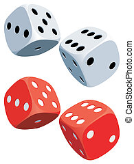 Dices - Two white and two red dices