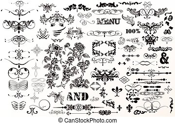Big decorative collection of vector frames, borders, flourishes and flowers for vintage design.eps