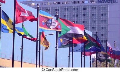 International waving flags.