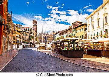Piazza delle erbe in Verona street and market view, Veneto...