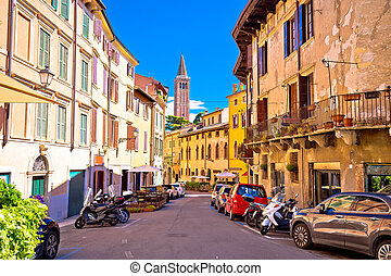 City of Verona colorful steet view, tourist destination in...