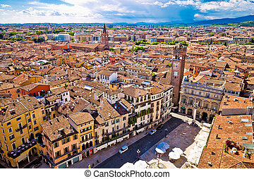 City of Verona aerial view from Lamberti tower, rooftops of...