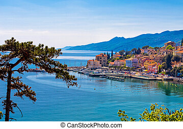 Town of Volosko waterfront panoramic view, Kvarner bay,...