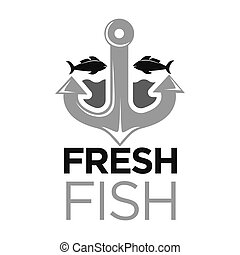 Fresh fish colorless logo with anchor and sea animals -...
