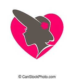 Woman in hat with broad brims in heart emblem - Woman in hat...