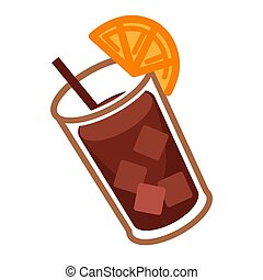 Coke cocktail with citrus - Vector illustration of glass of...