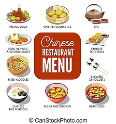 Chinese dishes in menu - Vector illustration of Chinese...