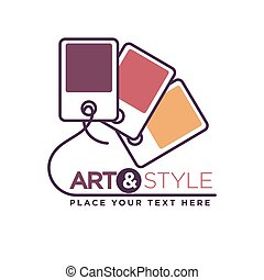 Art and style logotype with color palette isolated on white....
