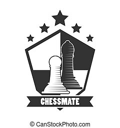 Chessmate club black and white emblem with pawns illustrations