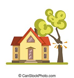Tree falling on house - Vector illustration of a tree...